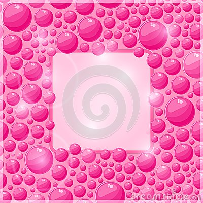 Vector Pink Bubble Frame with Square Place for Text