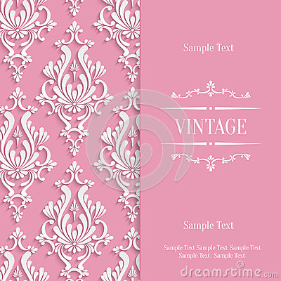 vector pink d vintage invitation card template with floral damask, invitation samples