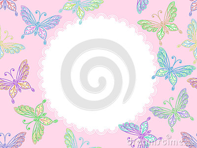 vector Pink floral lace frame with butterflies