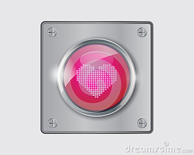 Vector of pink heart button.