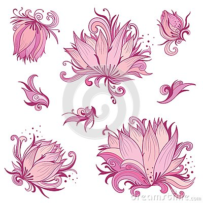 Free Vector Pink Lotus Flowers Set Royalty Free Stock Images - 76885089