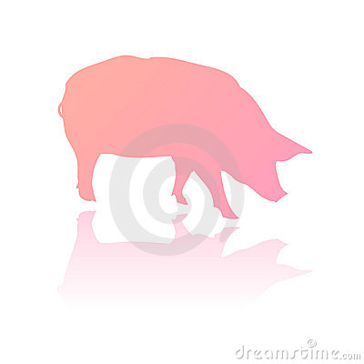 Vector Pink Pig Silhouette Royalty Free Stock Photography ...