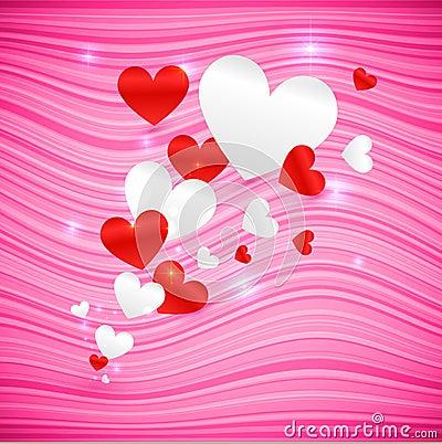 Vector pink wavy Valentine's Day background