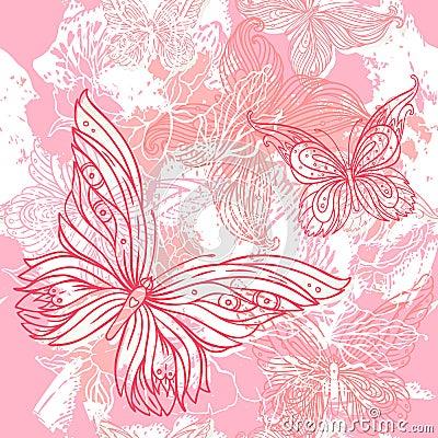 Vector pink wedding floral grunge seamless pattern