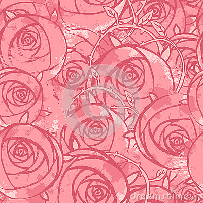 Vector pink wedding floral grunge seamless pattern