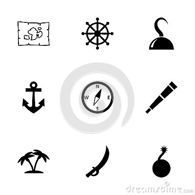 Vector Pirate Icon Set on nautical chart