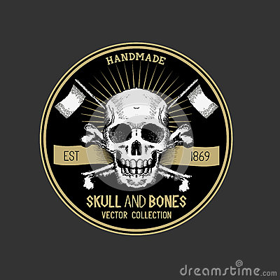 Vector Pirate Skull Label