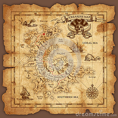 Free Vector Pirate Treasure Map Royalty Free Stock Images - 69355619