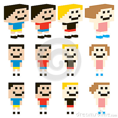 Vector Pixel Art Kids Character Design