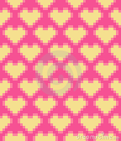 Free Vector Pixel Hearts Seamless Pattern Royalty Free Stock Photography - 23360717