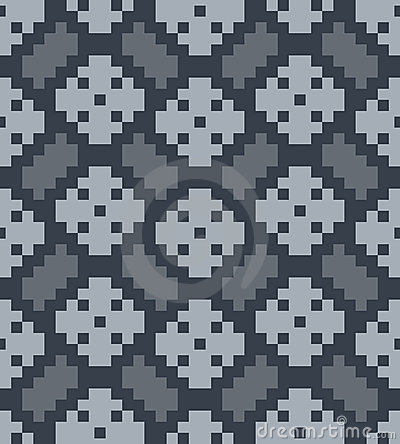 Vector pixel herringbone and rhombuses seamless pa