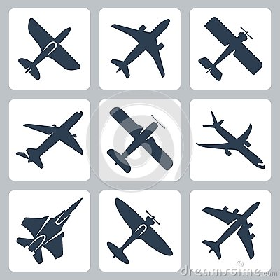 Free Vector Plane Icons Set Stock Image - 34989011