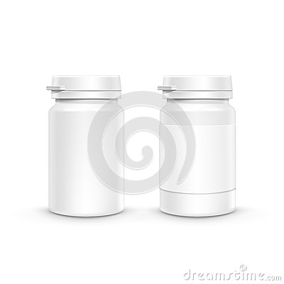 Free Vector Plastic Packaging Bottle With Cap For Pills Royalty Free Stock Image - 53979926