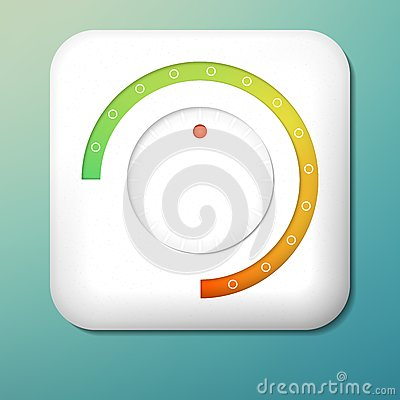 Free Vector Plastic Volume Button. Green To Orange Scale. Control Knob. Adjustment Icon Royalty Free Stock Images - 91132969