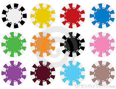 Vector Poker Chips in 12 Colors