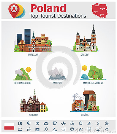Free Vector Poland Travel Destinations Icon Set Royalty Free Stock Photo - 33812115