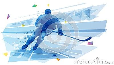 Hockey player on the run Vector Illustration