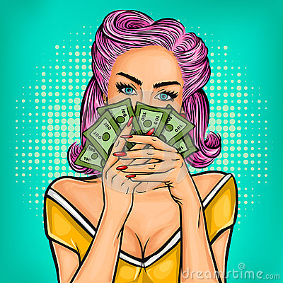 Free Vector Pop Art Girl With Cash Royalty Free Stock Photography - 79067867