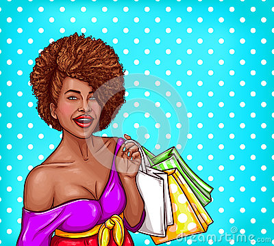 Free Vector Pop Art Illustration Of A Black Woman Holding Shopping Bags Stock Photo - 92485660