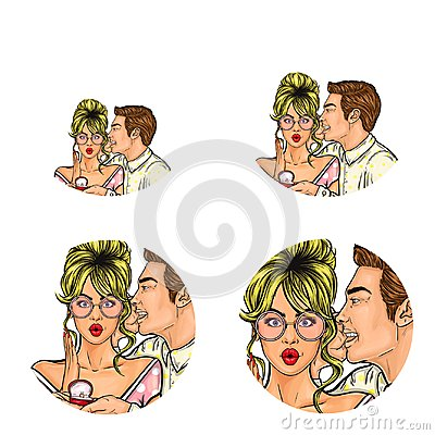 Free Vector Pop Art Social Network User Avatars Of Man Whispering Marriage Proposal In Woman Ear. Retro Sketch Profile Icons Stock Photography - 107522452