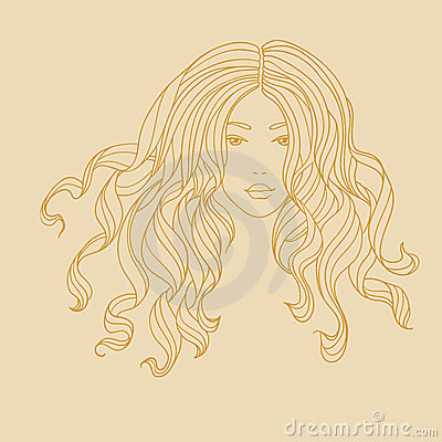 Vector portrait of a girl with long curly hair.