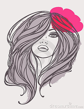 Vector portrait of long haired girl with flower.