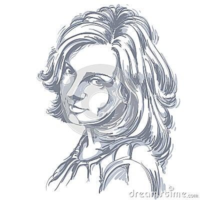 Free Vector Portrait Of Attractive Woman, Illustration Of Good-lookin Stock Photo - 91222510