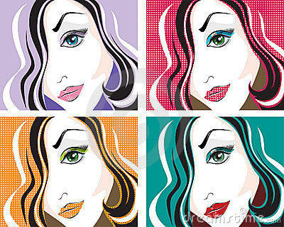 Vector portraits of the young woman