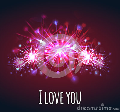 Free Vector Postcard With Colorful Bright Fireworks Of Hearts Stock Image - 65660771