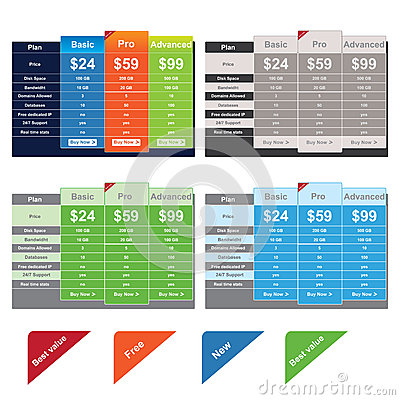 Free Vector Price Table Templates Royalty Free Stock Images - 25496549
