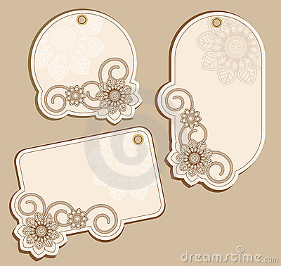 Free Vector Price Tags Beige With Floral Patterns Stock Photography - 19160242