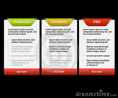 Vector Product versions comparison cards