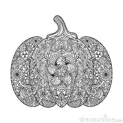 Vector pumpkin illustration hand drawn vegetable in for Pumpkin coloring pages for adults