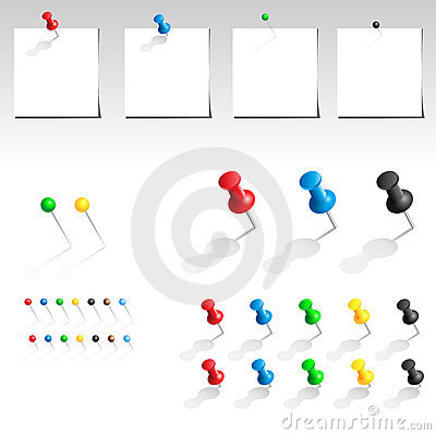 Free Vector Push Pin Collection Stock Photography - 12594672