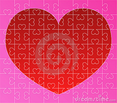 Vector puzzle with red heart