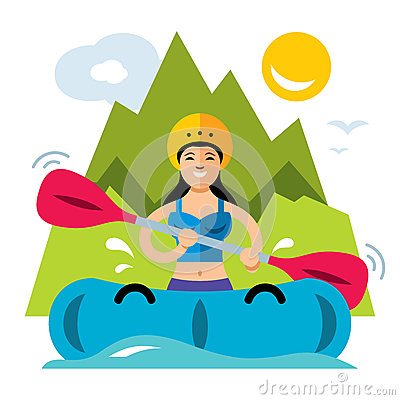 Vector Rafting Girl. Flat style colorful Cartoon illustration. Vector Illustration