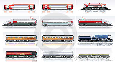 Vector railroad transportation icon set