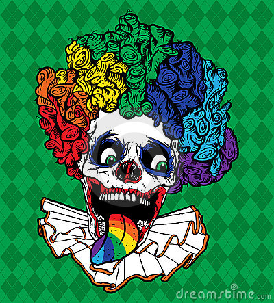 Vector Rainbow Clown Skull