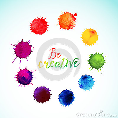 Free Vector Rainbow Watercolor Blobs. Circle Frame Of Royalty Free Stock Images - 51595639