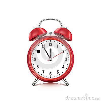 Free Vector Realistic 3d Illustration Of Red Alarm Clock, Isolated On White Background. Five Minutes To Twelve O`clock Royalty Free Stock Photo - 114658215