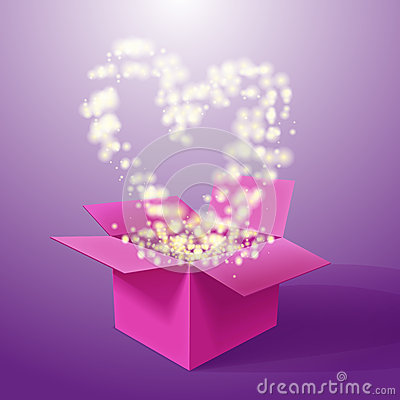 Free Vector Realistic Blank Bright Opened Pink Box With Heart. Stock Image - 49943601