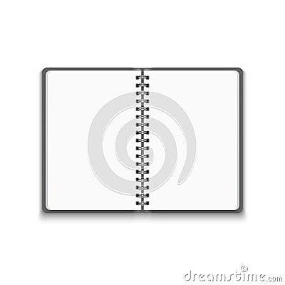 Vector Realistic Blank Open Notebook Vector Illustration