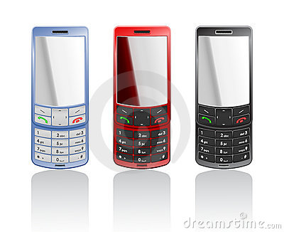 Vector realistic color mobile phones