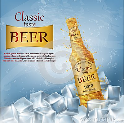 Free Vector Realistic Promotion Banner For Beer Brand Stock Image - 117328761