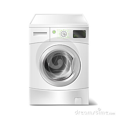 Free Vector Realistic Washing Machine With Smart Display On White Background. Electric Appliance For Housework, Laundry. Royalty Free Stock Images - 110306979