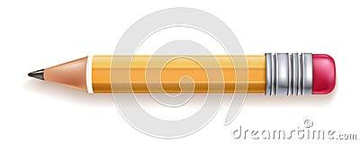 Vector realistic yellow wood pencil rubber eraser Vector Illustration