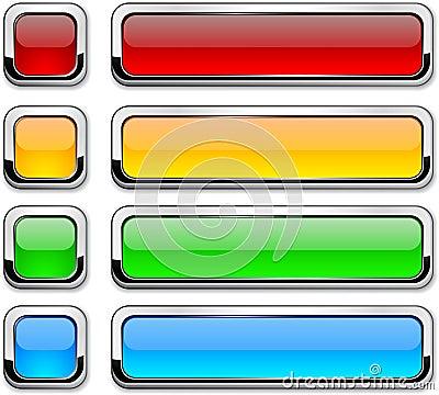 Vector rectangular buttons on white.