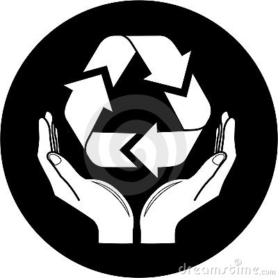 Vector recycle symbol in hands icon
