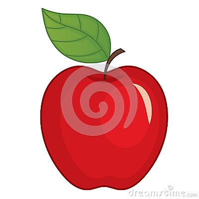 Vector Red Apple with Leaf Vector Illustration
