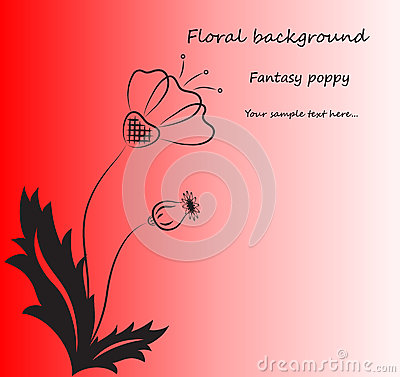 Vector red background with fantasy poppy.